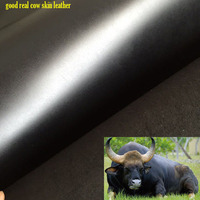 Good 2mm Thick Black Genuine Cow Leather Fabric Cow Skin Fabric Real Cow Leather Quilting Patchwork