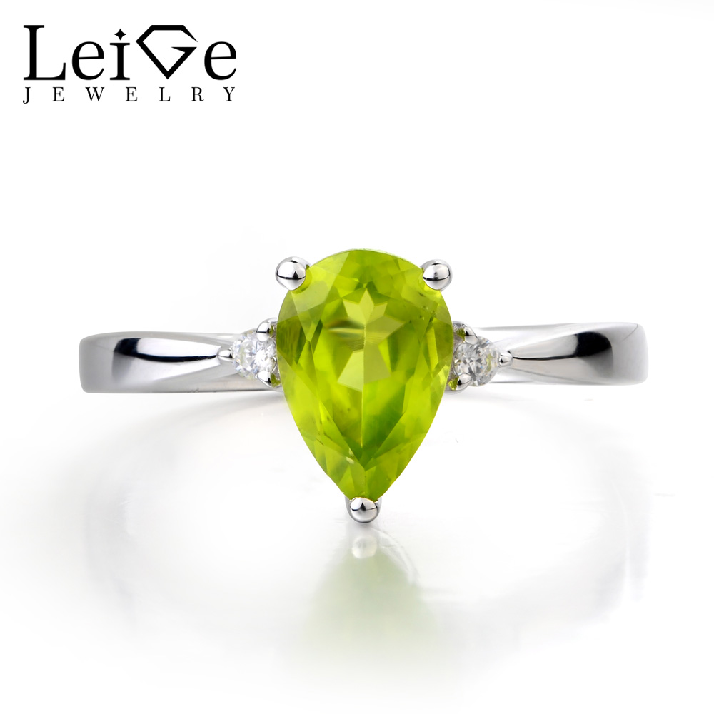 купить Leige Jewelry Natural Peridot Ring Wedding Ring August Birthstone Pear Cut Green Gemstone 925 Sterling Silver Gifts for Women по цене 6323.77 рублей