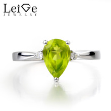 Leige Jewelry Natural Peridot Ring Wedding Ring August Birthstone Pear Cut Green Gemstone 925 Sterling Silver Gifts for Women