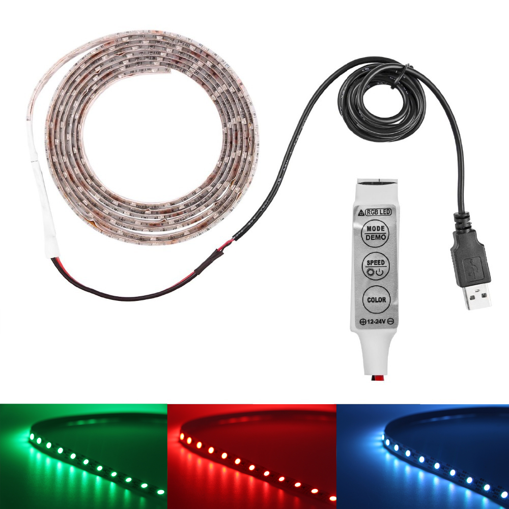 Waterproof RGB 5050 SMD LED Strip Lights Colour Changing Lamp USB ...