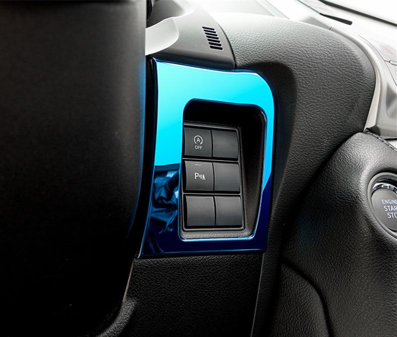 Interior Multi-function button frame stainless steel decorative trim 1pcs for Toyota Land Cruiser Prado 2700 2018-2019