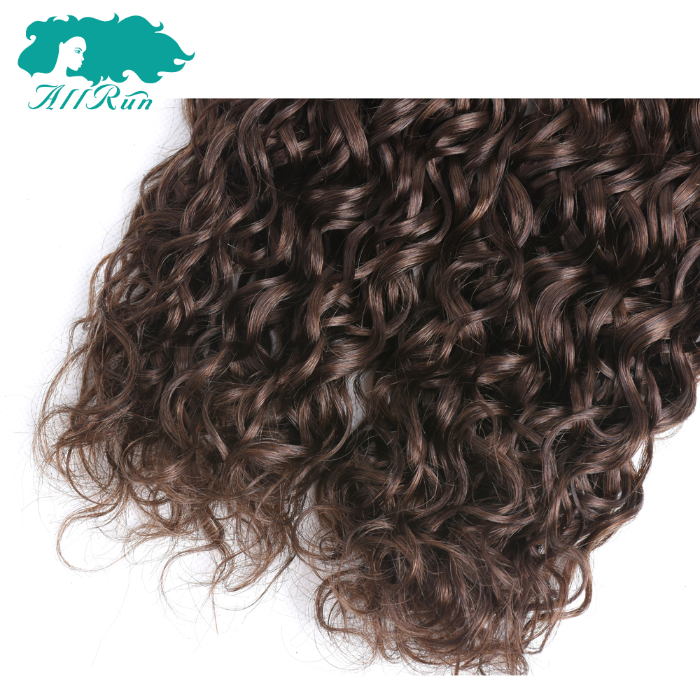 Allrun Pre-Colored Water Wave 4# Light Brown Malaysian Hair 3 Bundles Pack Non Remy Bundles Free Shipping