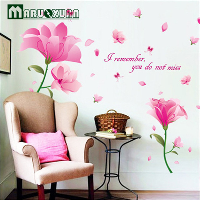 Wall stickers factory fantasy pink flowers fifth generation of three generations of removable wall stickers pvc