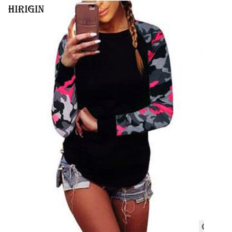 Autumn 2017 Fashion Women Patchwork Long Sleeve Army Camouflage T Shirt Tops Round Neck T Shirts Tops Tees Plus Size S to 5XL