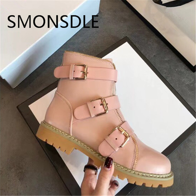 SMONSDLE 2018 New Fashion Black Genuine Leather Women Ankle Boots Round Toe Buckle Strap Women Autumn Winter Boots Shoes Woman fashion women shoes winter ankle boots brand black flat heel shoes autumn buckle strap round toe short boots woman plus size ce