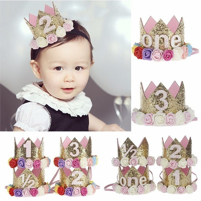 Girl First Birthday Decor 1st Flower Party Crown One 2nd Three Year Old Number Priness Pink Hat Baby Hair Accessory