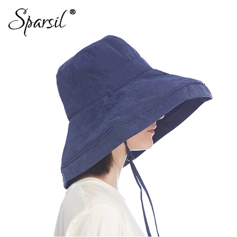 Sparsil Women Sun Hat Fashionable Super Wide Brim Fold Bucket Cap Fedoras Beach Wedding Summer Solid Color Floppy Sun Hats +Rope