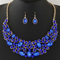 Collier Femme Choker Statement Bridal Jewelry Sets Crystal African Jewelry Set Circle Collares Round Necklaces & Earrings Set