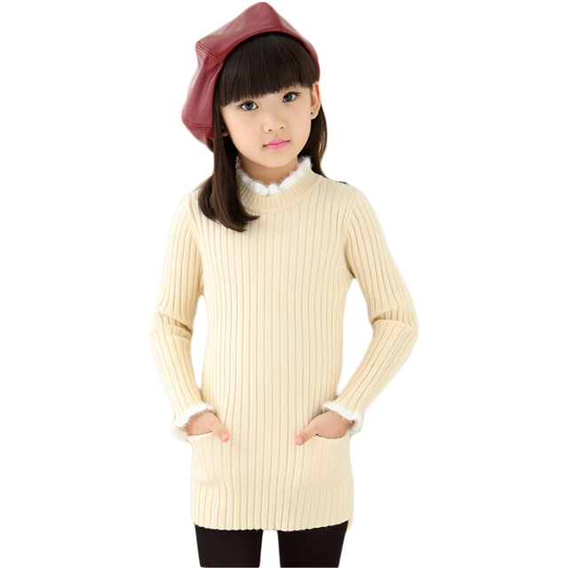 Baby Girls Winter Knitted Long Sweaters Long-Sleeved O-Neck Solid Color Kids Package Hip Pullovers with Pockets