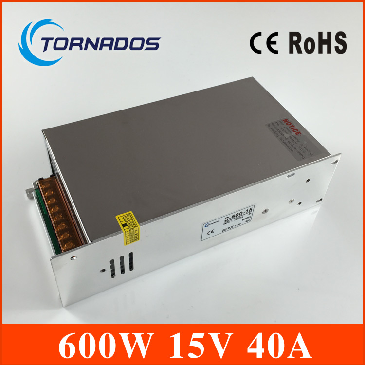 Switching power 15V 40A  600W Single Output Uninterruptible ac 220v to dc 15v Switching power supply unit for LED Strip light 15v 600w switching power supply 15v 40a single output ajustable 50 60hz ac to dc industrial power supplies s 600 15