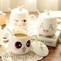 New arrival cute ceramic mug with spoon emoji coffee mug Cup large capacity glass mug bone white coffee cup cute kawaii milk mug