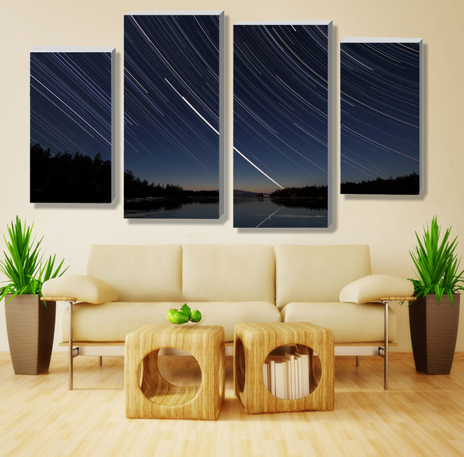 Modern Style 4 Panels New Year Gift Starry Sky Lake Meteor Shower Reflection Canvas Oil Painting Modular Wall Home Decor Poster
