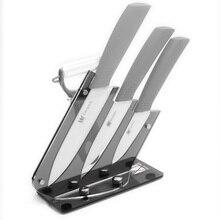 XYJ Marke 3,4, 5 Zoll Grau Griff Keramikmesser Mit Peeler Gute qualität Schwarz Acryl Küchenmesser Ständer Block In Verkauf