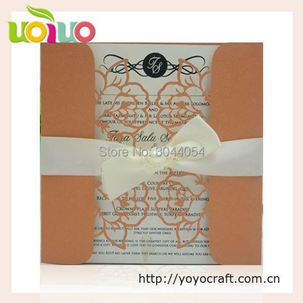 50pcs Papercrafts Orange Color Free Wedding Invitation Cards In Chennai Laser Cut Simple Card