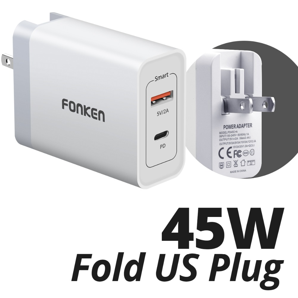 FONKEN 2-Port USB C PD Charger 45W Type-C Fast Charge 3.0 Mobile