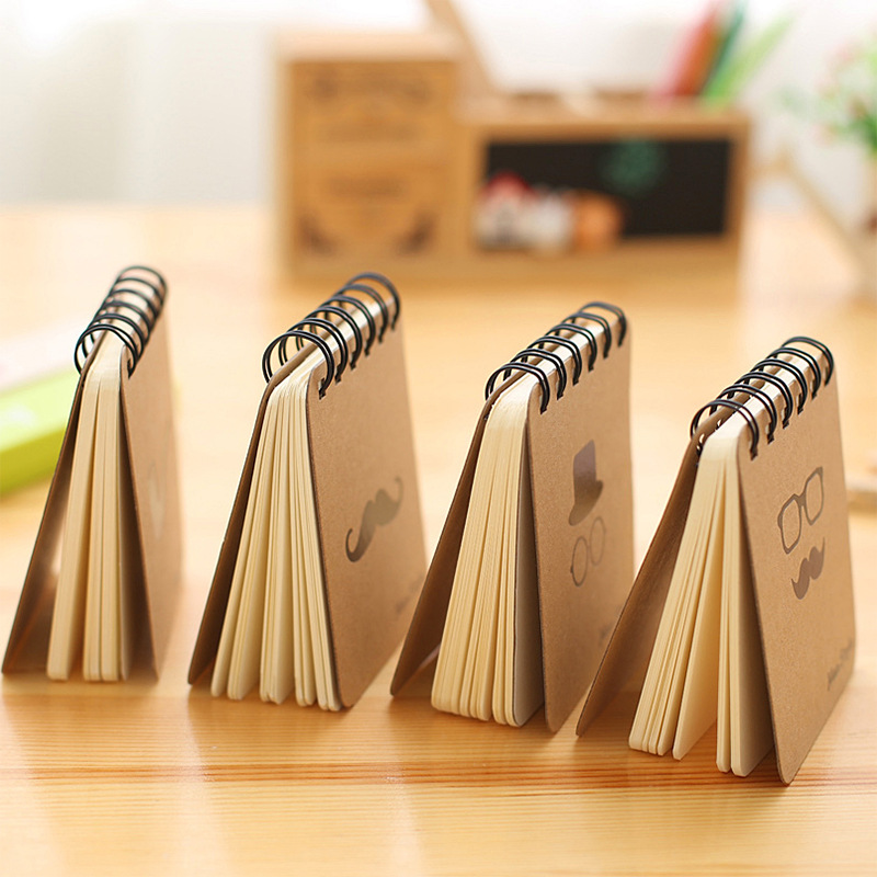 MEMO Pad Korean Stationery Black Gold Beard Coil Book Portable Notepad Small Book Wholesale