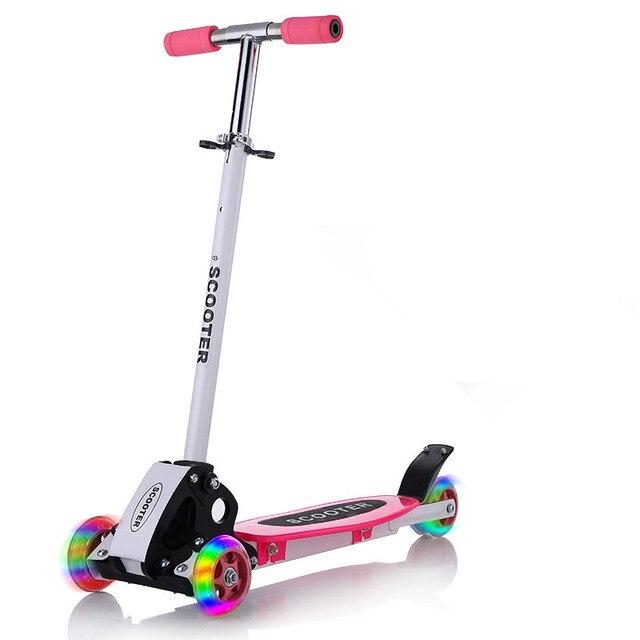 Scooter round four 4 wheel roller skates fold baby Children slippery car shipping skuter trottinette for kids with shine wheel