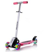 Trottinette ronde à quatre roues, roues pliables, avec roue brillante, pour enfants