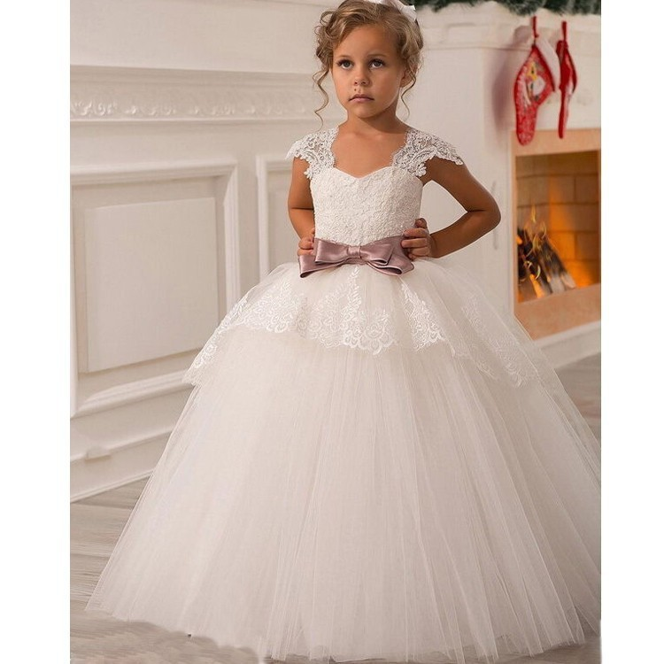 Glizt White Flower Girls Dresses For Wedding Gowns Cap Sleeve Lace Bow Sash Girl Birthday Party Dress Zipper Tulle Pageant Dress white chiffon black sash bow flower girl dress white country wedding baby girls dress tulle rustic baby birthday dress