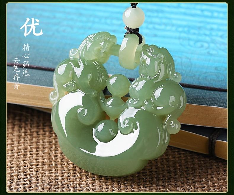 Xinjiang hetian yu fine material double PI xiu pendant natural yu men and women hollow pendant