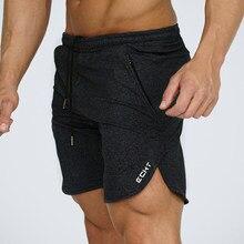 Летние мужские Slim брендовые шорты до середины икры Длина Фитнес бодибилдинг моды Повседневное костюм для тренажерного зала тренировки пляжные шорты Штаны Спортивная