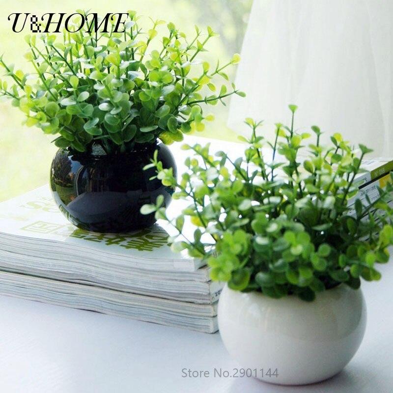Cheap Artificial Plants Eucalyptus Grass Fake Plastic Leaves Trees For Home  Wall Garden Outdoor Wedding Table Decoration Bulk
