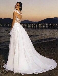 Image 2 - LORIE 2019 Neue Prinzessin Hochzeit Kleid Champagner Tüll Rock Appliqued Spitze Abnehmbare Zug Brautkleid Boho Braut Kleid