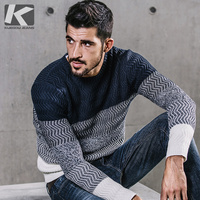 KUEGOU 2017 New Retro Pullovers Autumn Mens Fashion Sweaters Patchwork Striped Blue Knitted Brand Clothing Man