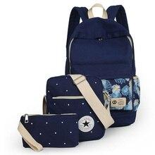 2016 adrette Schultasche Rucksack für Jugendliche frauen Tragbaren Rucksack Bookbag 3 stücke Mädchen Rucksack + Schultertasche Bleistiftbeutel