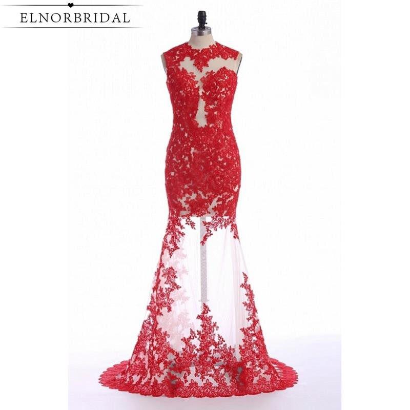 95d6eb0b1 Vestido De Festa Red Mermaid Evening Dress 2019 Sexy See Through Robe De  Soiree Lace Tulle