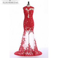 Vestido De Festa Red Mermaid Evening Dress 2019 Sexy See Through Robe De Soiree Lace Tulle Prom Dresses Formal Women Party Gown