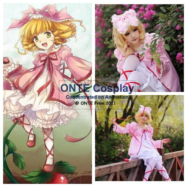 Anime Rozen Maiden Cosplay Dress Hinaichigo Cosplay Costume Pink Lolita Dress for Halloween Party (Free Gift for socks)