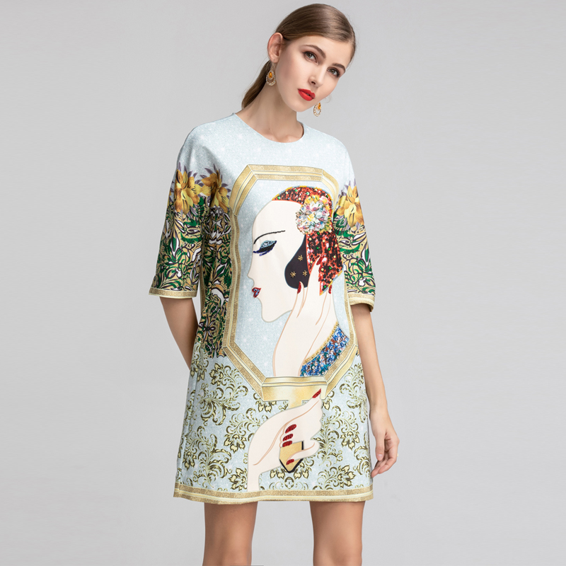 Red RoosaRosee Fashion Runway Summer Dress Women Half Sleeve Gorgeous Crystal Beaty Print Elegant Loose Dresses