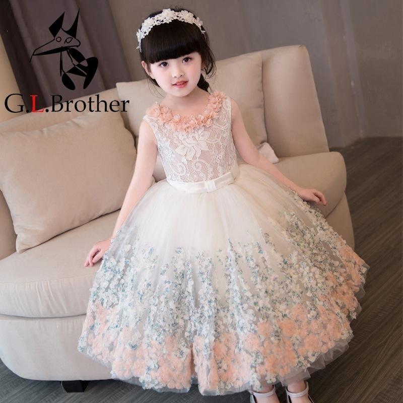 2-12 Years Flower Girl Dress Lace Ball Gown Kids Pageant Dress For Birthday Party Gowns Sleeveless Floral Princess Dress K26 best floral imprint sleeveless skater dress