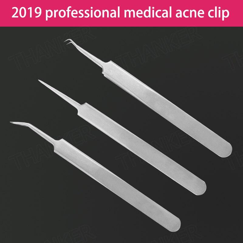 Professional tweezers acne clip Best blackhead tweezer eyebrow medical grade Stainless Steel super sharp pinhead acne treatment