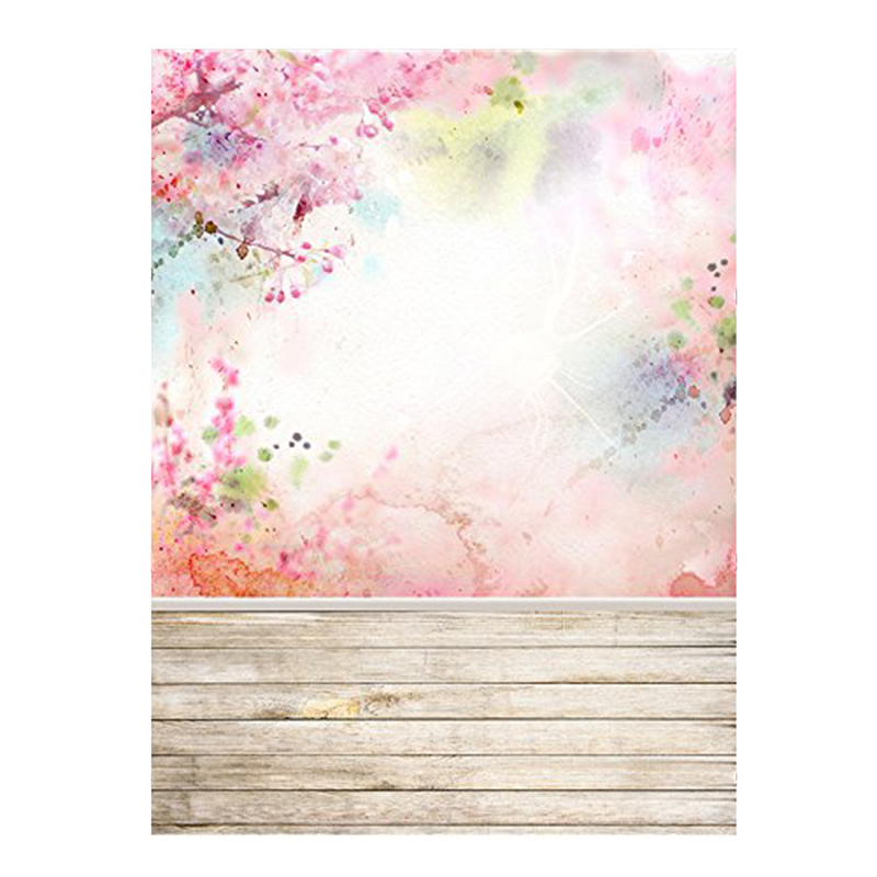 3x5ft Photography Backdrop Pink Flowers Wood Floor Photo Background for Wedding Baby Birthday Party Studio Props 0.9x1.5m
