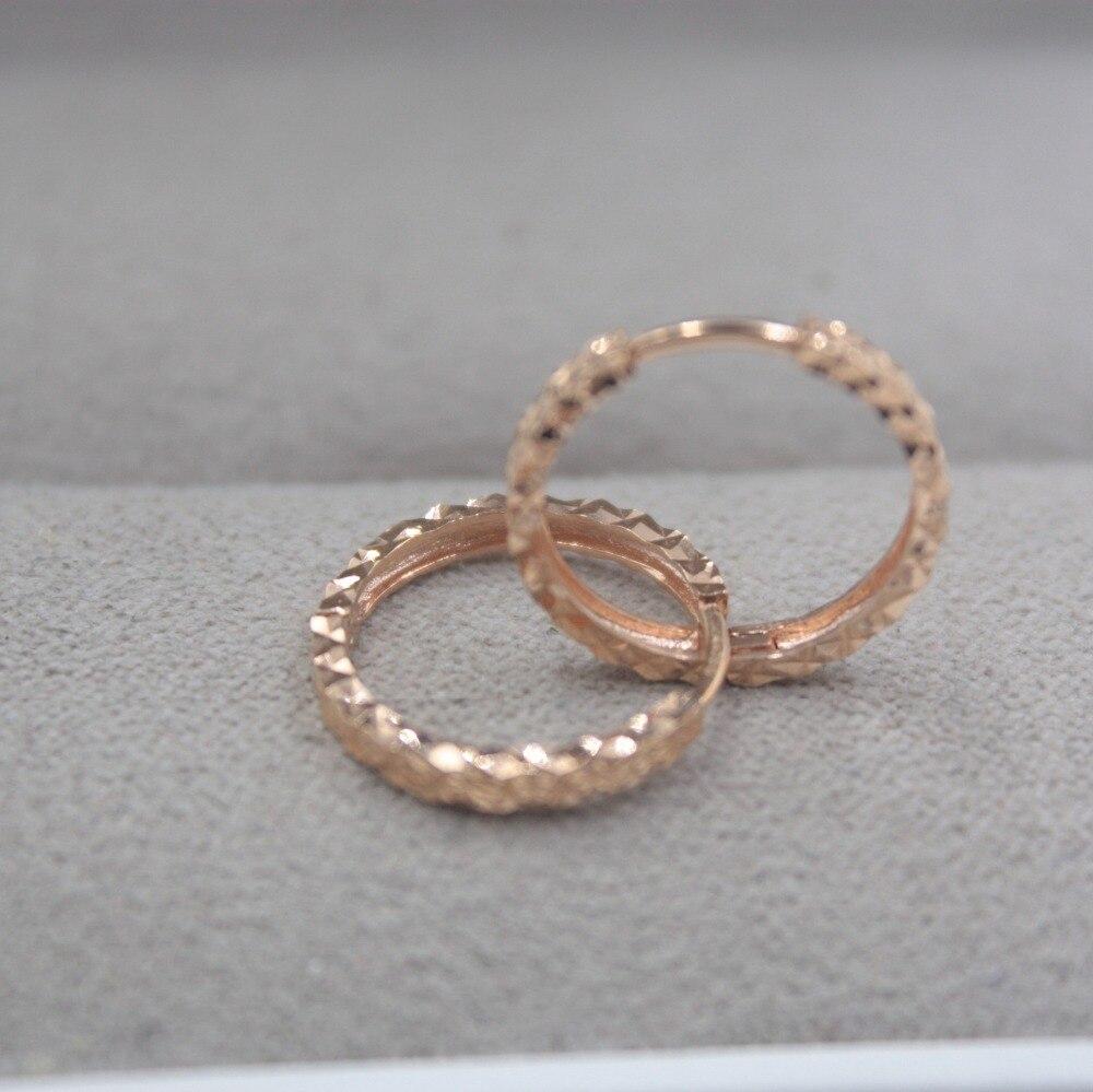 Pur 18 K or Rose sculpté petites boucles d'oreilles personnalisé balle cadeau mignon boucles d'oreilles cerceau 1.8-2.0g bijoux de tous les jours brillant