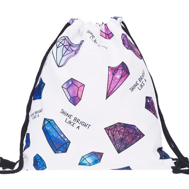galaxy diamond Bags Drawstring Bag Women Backpack 3d Print Patchwork  Softback Mochila Feminina Harajuku Unisex Backpacks BP148