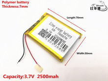 Good Qulity 3.7V,2500mAH,705070 Polymer lithium ion / Li-ion battery for TOY,POWER BANK,GPS,mp3,mp4