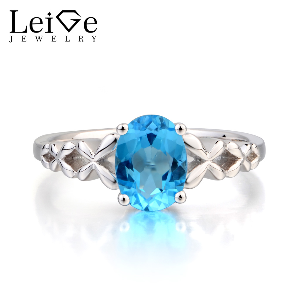 Leige Jewelry Anniversary Ring Swiss Blue Topaz Ring November Birthstone Oval Cut Gemstone Blue Gems Solid 925 Sterling Silver термокружка gems 470ml blue topaz 1907 77