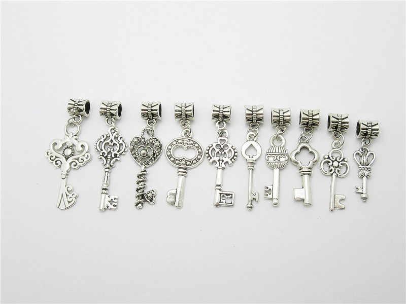 Phối 30 chiếc Bạc Tây Tạng Vintage chìa khóa hạt phù hợp với phong cách Pandora Vòng tay TỰ LÀM mặt dây chuyền