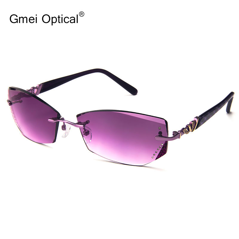 d58cdb6d2d5 Gmei Optical 020 Fashion Rimless Gradient Tinted Sunglasses with Diamond  Accessories for Women Sunwear-in Sunglasses from Apparel Accessories on ...