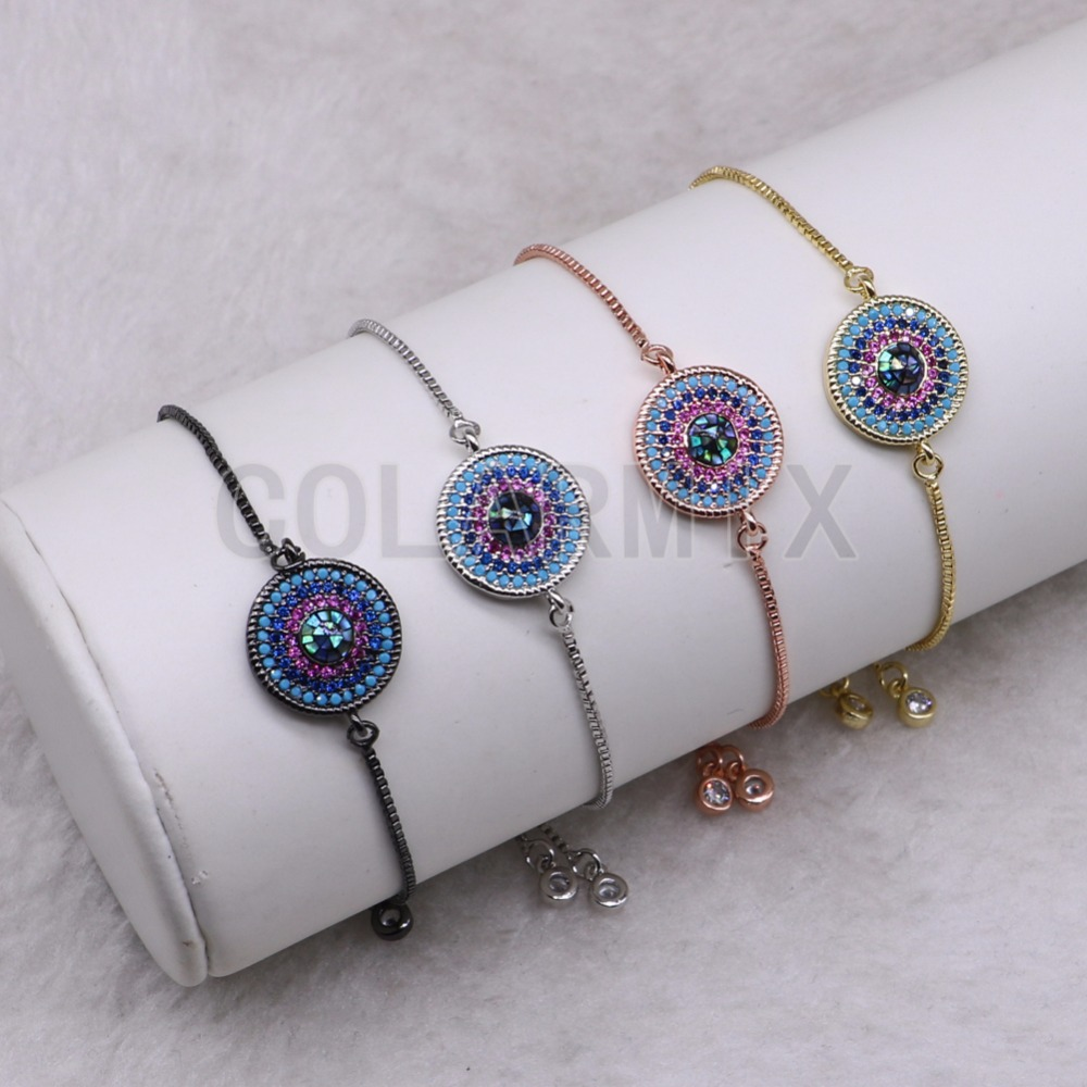 10 pieces round bracelets with eye  bracelet bangle wholesale jewelry handcrafted mix color beads bracelets 3583