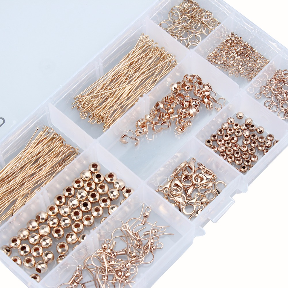 LOULEUR 1Box 1Set Rose Gold Color Bead Caps Jump Rings Head Pins Ear Wires Lobster Claps For Diy Jewelry Making Findings Kit