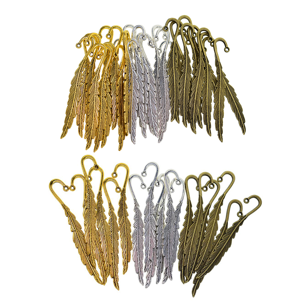 30/18pcs Beading Feather Bookmark With Loop Book Marker DIY Making Accessories