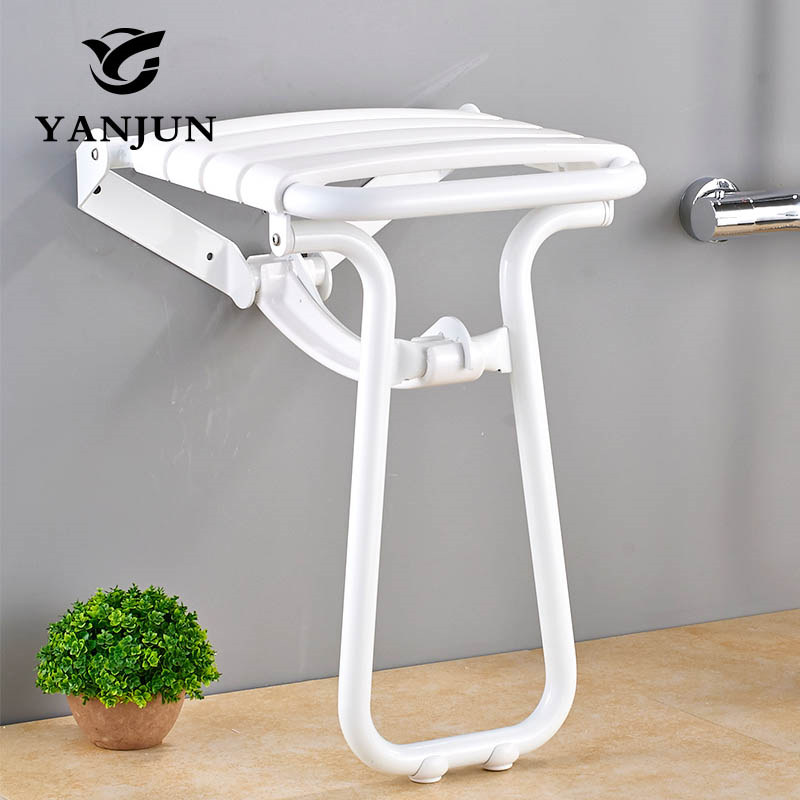 YANJUN Wall Mounted Folding Shower Seat With Legs Water Proof Relaxation Shower Chair YJ-2035 solid wood folding shower seat spacing saving wall mounted morden seat relaxation folding chair waiting chair wall chair