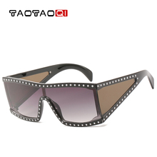 TAOTAOQI Oversized Sunglasses Diamond Crystal Square Women Large Frame Brand Glasses Designer Female Men Eyewear