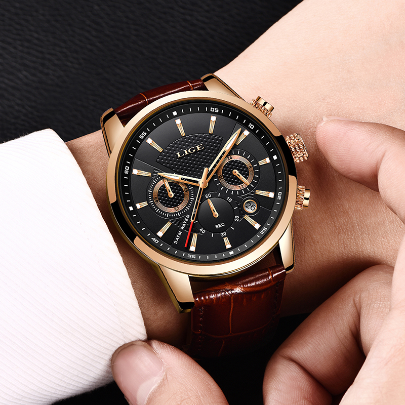 Image 4 - LIGE Mens Watches Top Brand Luxury Leather Casual Quartz Watch Men Military Sport Waterproof Clock Gold Watch Relogio Masculino-in Quartz Watches from Watches