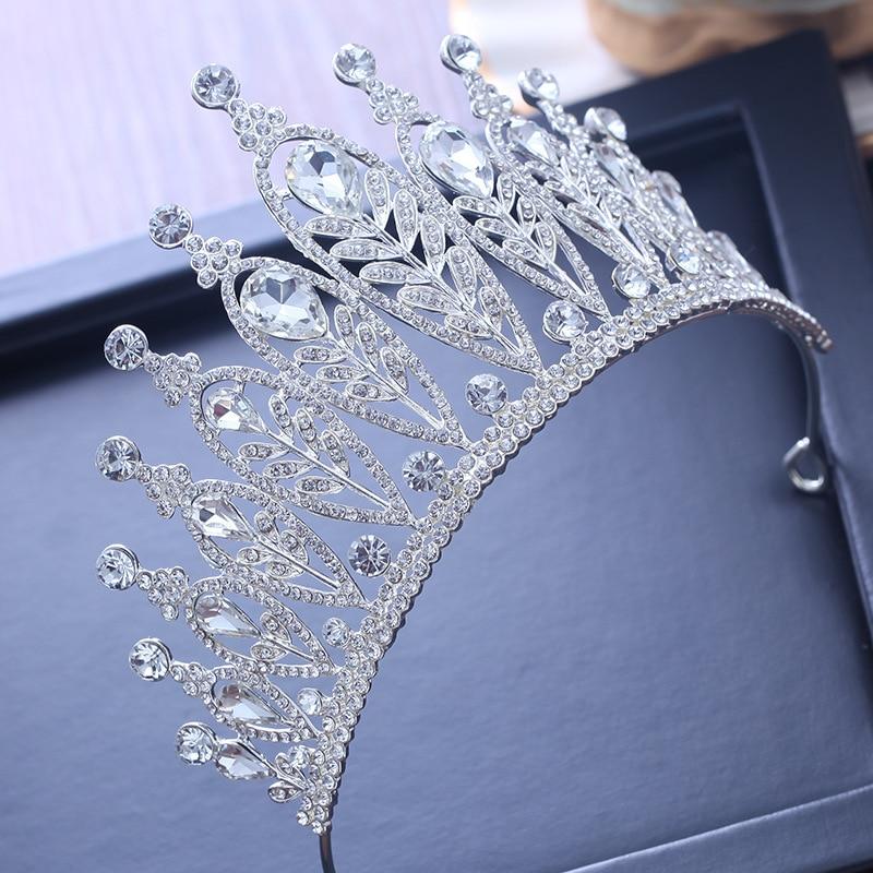 Women Shiny Rhinestone Round Crown Tiara Wedding Bridal Pageant Headpiece Trendy