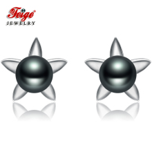 где купить Flower shape Natural Pearl Stud Earring Women 6-7mm Black Freshwater Pearl Earrings 925 Sterling Silver Fine Jewelry Earrings дешево